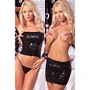 Топ — юбка Pink Lipstick Lingerie «Sequin tube top or skirt black»