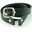 Стильный тонкий черный кожаный браслет