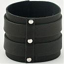 Стильный черный кожаный браслет с двумя пряжками