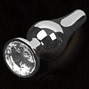 Серебристая анальная пробка с кристаллом от Пикантные Штучки, S