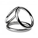 Тройное эрекционное кольцо Sinner Gear Unbendable — Triad Chamber Metal Cock and Ball Ring — Medium
