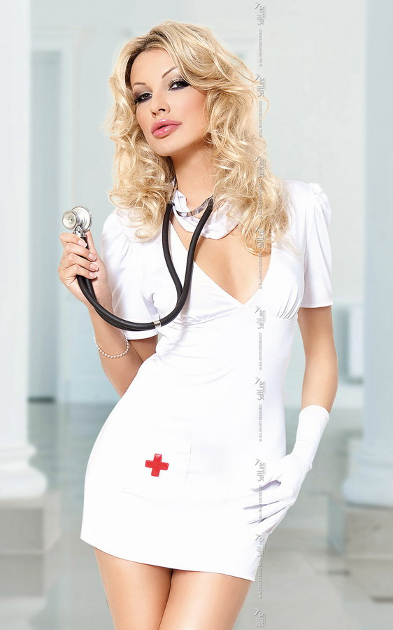Sexy girl doctor in a white coat with a stethoscope